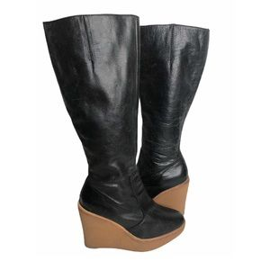 STEVEN Worthe Wedge Boots Leather Gum Sole Blk 8